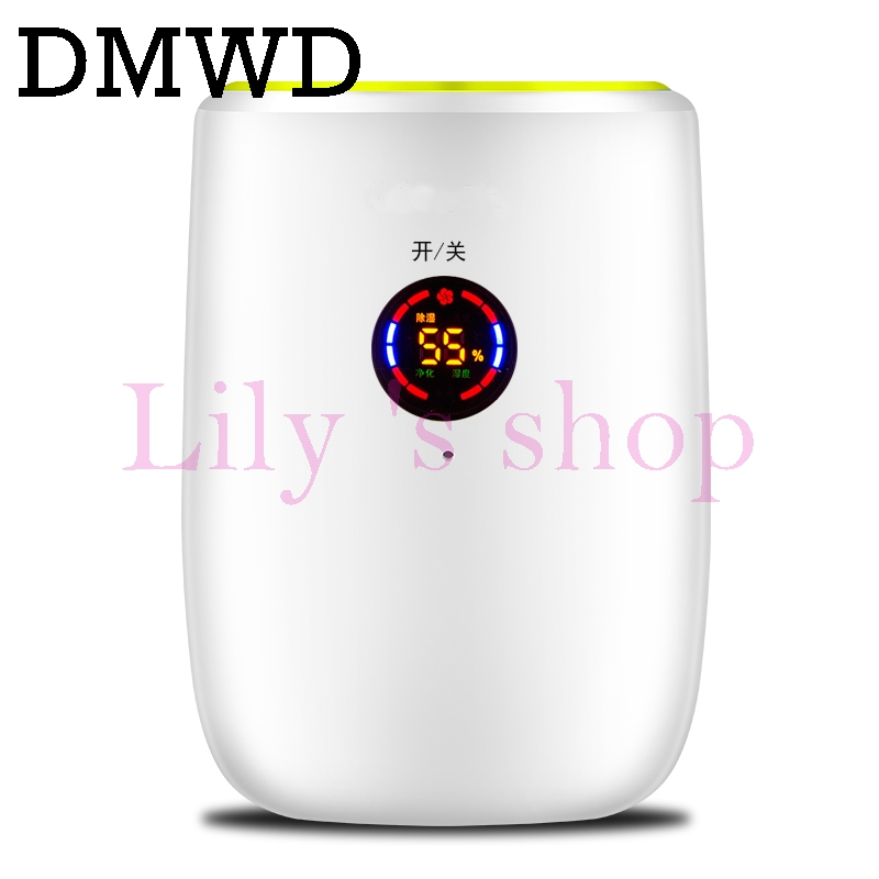DMWD Portable electric dehumidifier Mini Moisture Absorbing Air Dryer LED display Auto-off Dehumidifiers Air Purifier 110V 220V dmwd portable mini dehumidifier electric absorbing air dryer air dehumidifiers moisture absorber auto off led indicator 500ml eu