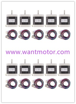 [EU&USA free]10pcs  Wantai Nema17 Stepper Motor 42BYGHW609-X Single Flat D-Shaft Dual connectors40N.cm 56oz-in 3d printer