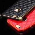 Для iPhone6 6 s 6 s Плюс Крышки Роскошный Алюминиевый Металл + Кожа Назад Аксессуары золото Случае Отверстие Логотип Для Apple iphone 6 6 S 6 6 s Plus