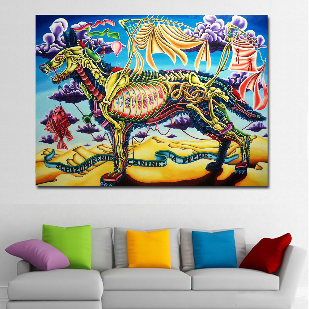 Abstract Art Prints On Canvas Us 4 51 48 Off Abstract Art Colorful Wolf Skeleton Painting Modern Art Canvas Printed Wall Art Prints Poster Cuadro For Living Room Home Decor In
