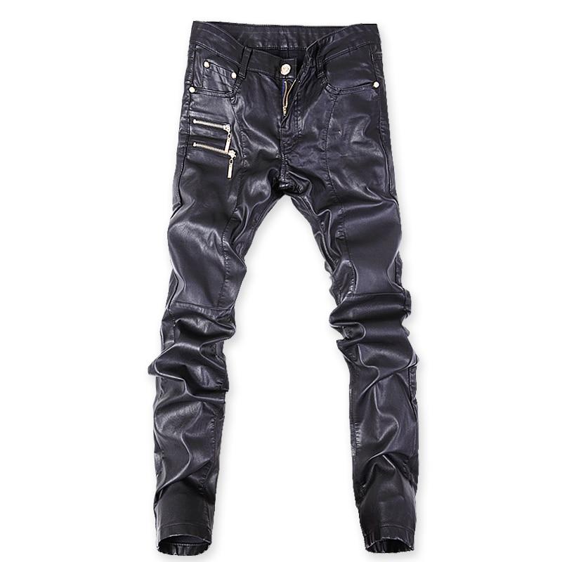 2018 Dünne Hosen Männer Neue Schwarz Leder Hosen, Männliche Leder Hosen, Dünne Koreanische Leder Hose