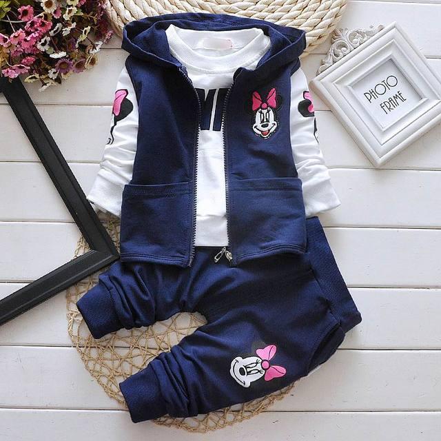 Retail 2016 Autumn New Cartoon Mini Mouse Girl Three Sets Waistcoat+Tshirts+Pants Baby Clothing 1-4T 8003