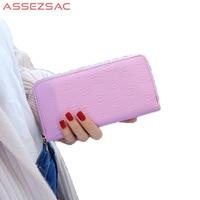 Assez Sac Fashion Solid Women PU Leather Women Wallet Popular Embossed Lady Concise Versatile Girls Like
