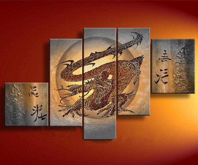 Peintures à l'huile de Dragon chinois abstrait peint à la main sur toile grand 5 panneau peinture murale photos moderne Home Decorativos Arts