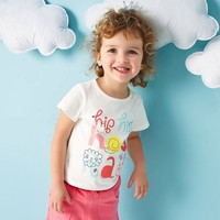 2017 Baby Girls T Shirt For Girls Kids Tees Cartoon Characters Child Pussy Little Bunny Cotton