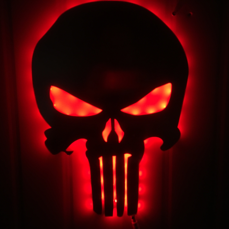 1Piece Halloween Decor Skull LED Wall Light Color Changing Eclipse Light Skull Decorative Wall Lamp Creative