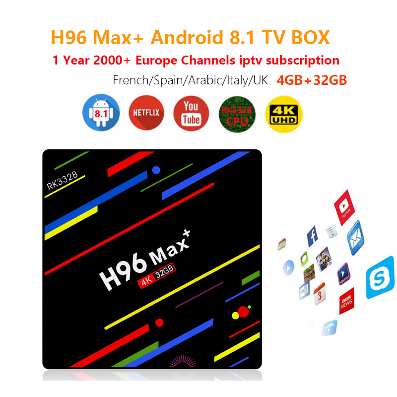 IPTV H96 Max + 4K Android TV Box 4GB+32GB Android 8 1 with 1800+ Europe  France Arabic africa Poland football Smart TV Box