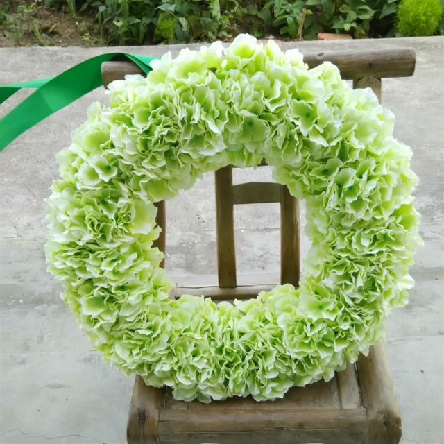 Light Green Hydrangea Round Garland Front Door Wreath 20 Inches Wedding  Party Birthday Decoration Flowers