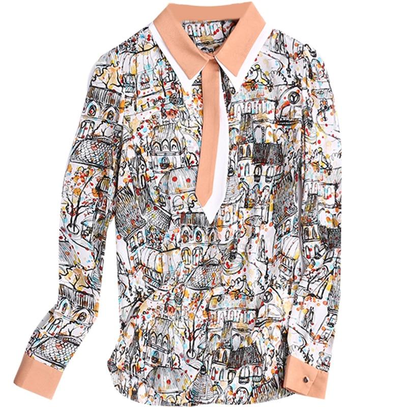 76f45ad5c4 Nuova Shirt blue E Calda Autunno Donne Camicia Delle Casual 2018 Maniche Di  Stampata Shirt Ufficio ...