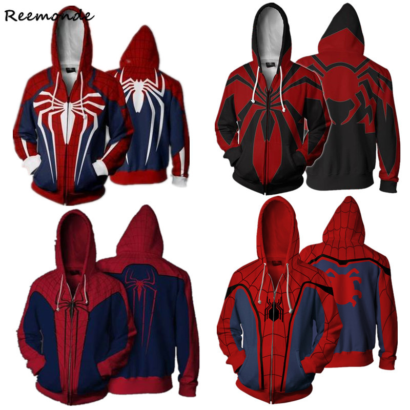 PS4 Insomniac Games Unisex Venom Spiderman Cosplay Costumes Spider-Man 3D Printed Zipper Hoodies Sweatshirts Jackets Men Boys