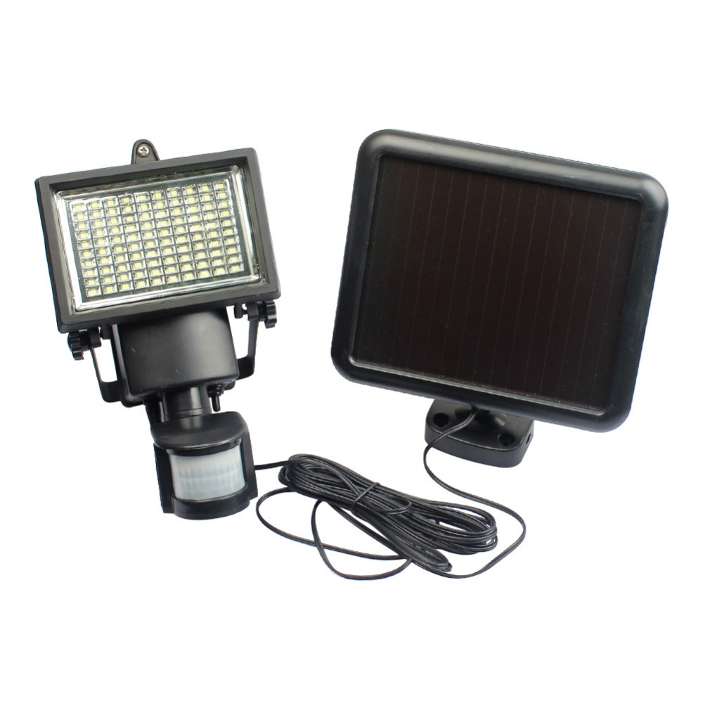 60 LEDS Solar LED Floodlight Outdoor garden light PIR Motion Sensor LED Flood Light Lamp For  Wall Emergency Lighting  IY105318 5 pieces lot solar powered panel led street light solar lighting outdoor path wall emergency lamp security flood light