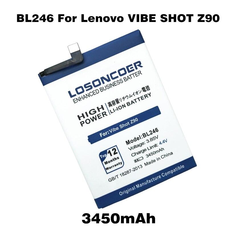 imágenes para LOSONCOER 3450 mAh Batería Batería Para Lenovo VIBE TIRO Z90 BL246 Z90-3/Z90-7 Baterías de Teléfonos móviles