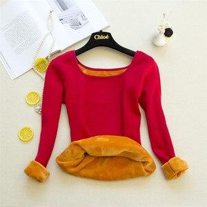 Женские футболки с длинным рукавом, осенне-зимняя футболка, теплые футболки из плотного бархата, женская нижняя рубашка, топы, нижнее белье, ...