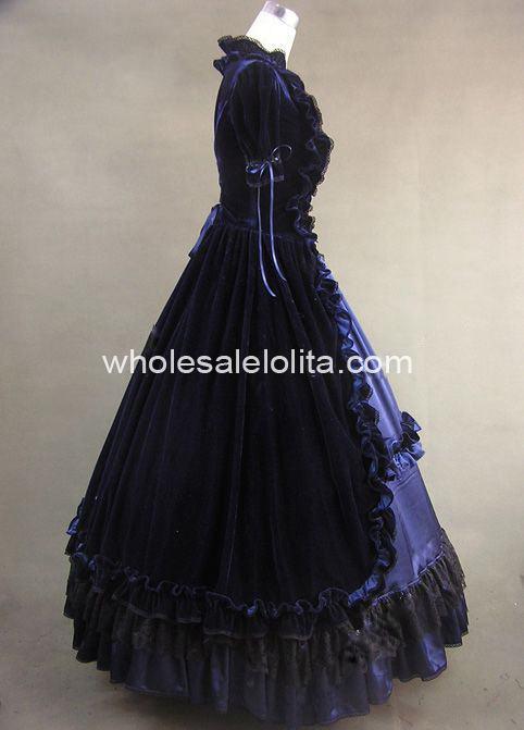 Historique Victorienne And Bleu Costume Blue Gothique Théâtre Black Robe 2 Bien Noir Fait Et Pices OwRqz8x
