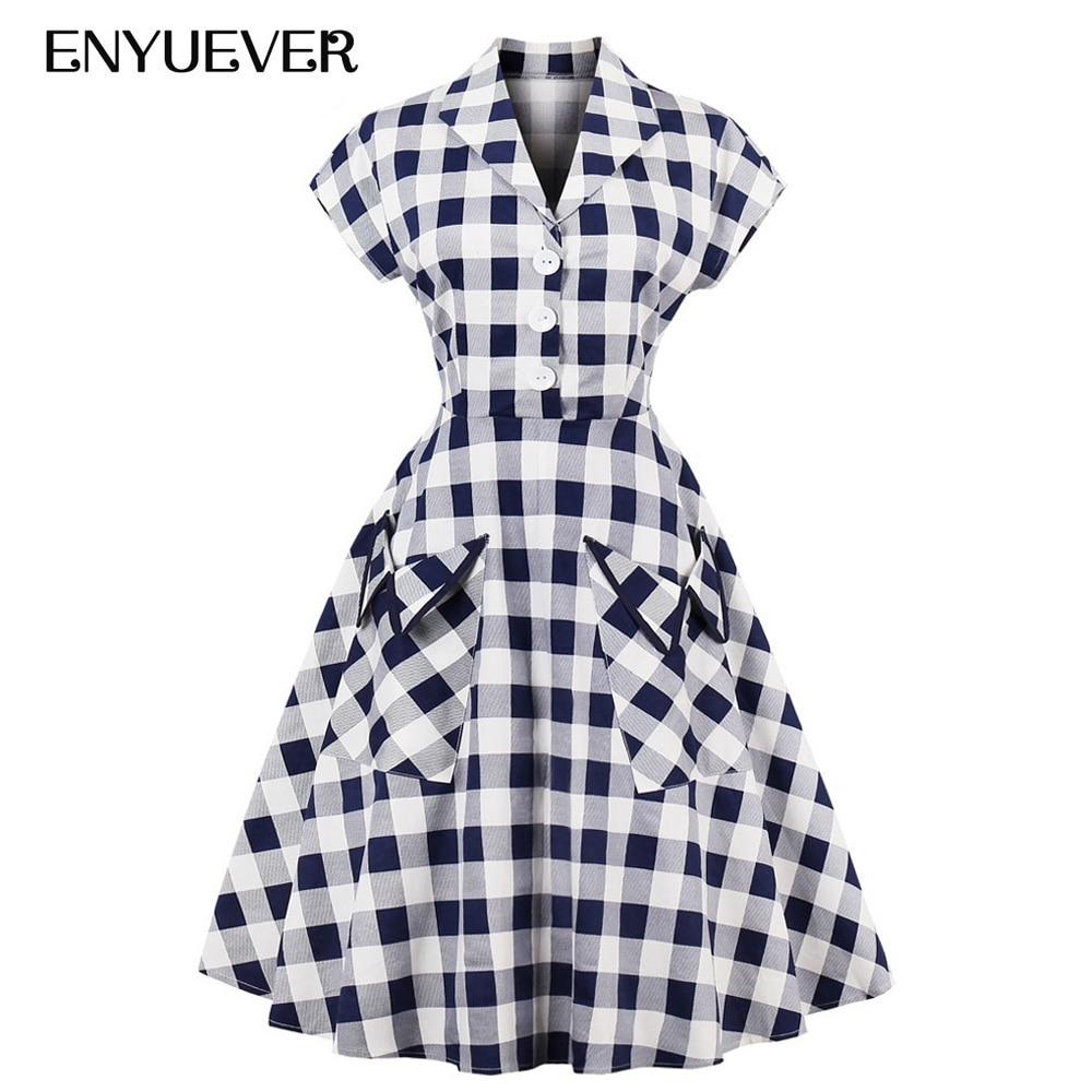 6bf5c68da83 Enyuever Robe à carreaux grande taille femmes automne vêtements à manches  courtes poches coton tunique Rockabilly