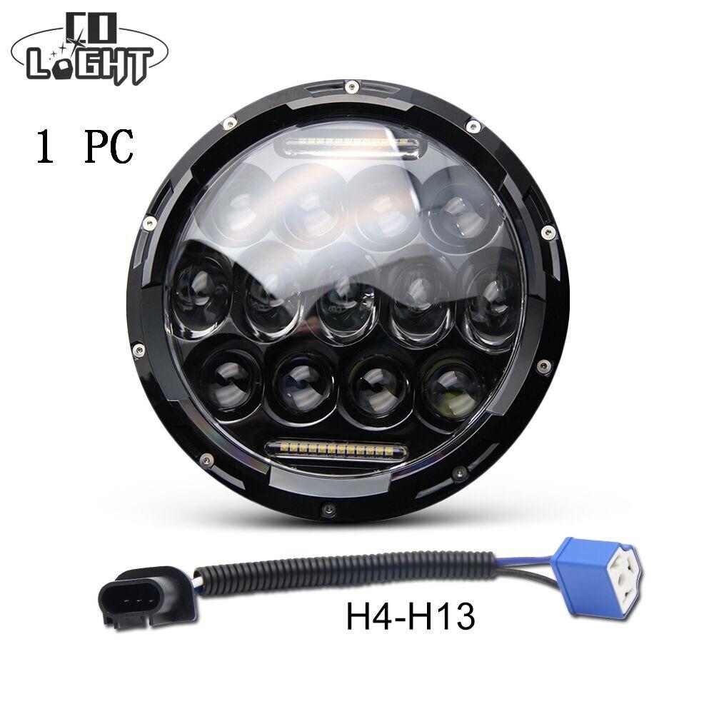 Со светом 75 Вт 7 ''светодио дный фар H4 H13 высокий низкий пучок круглые автомобили ходовые огни 12 В для Jeep Лада городской Нива 4x4 мотоцикла Harley