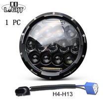 """1x 75W 7"""" Led Headlight H4 H13 High Low Beam Round Cars Running Lights for Jeep Lada Niva 4×4"""