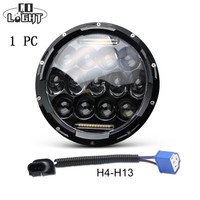 CO LIGHT 1x 75W 7'' Led Headlight H4 H13 High Low Beam Round Cars Running Lights for Jeep Lada urban Niva 4x4 Harley Motorcycle