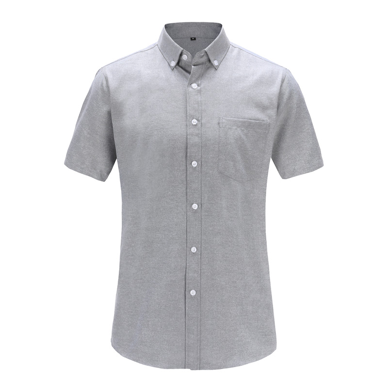 Jeetoo 2019 New Summer Men Shirts Male Short Sleeved Oxford Solid Color Gray Wine Cotton Slim Fit Men's Business Casual Shirt