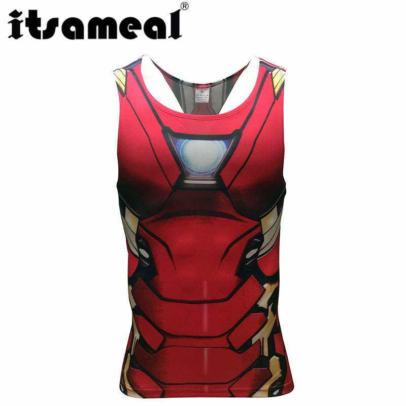 Iron man Compression Men 3D Printed T-shirtsVests cosplay Tank Tops Sleeveless Fitness Body Building Male Crossfit Tops