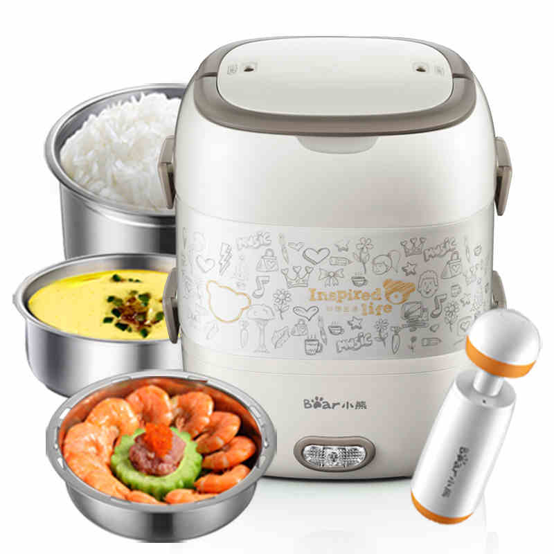 220V 2L Multi Electric Heating Rice Cooker Stainless Steel Inner Electric Heating Lunch Box Double Cooking Box With Vacuum Pump bear electric lunch box portable vacuum three layer automatic insulation heating cooking stainless steel rice cooker