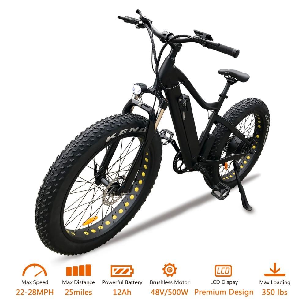 VTUVIA E bike 500W Brushless Motor 48V 12Ah Li-ion battery Electric bicycle Top Speed 26 inch Fat Wheel Electric Mountain bike
