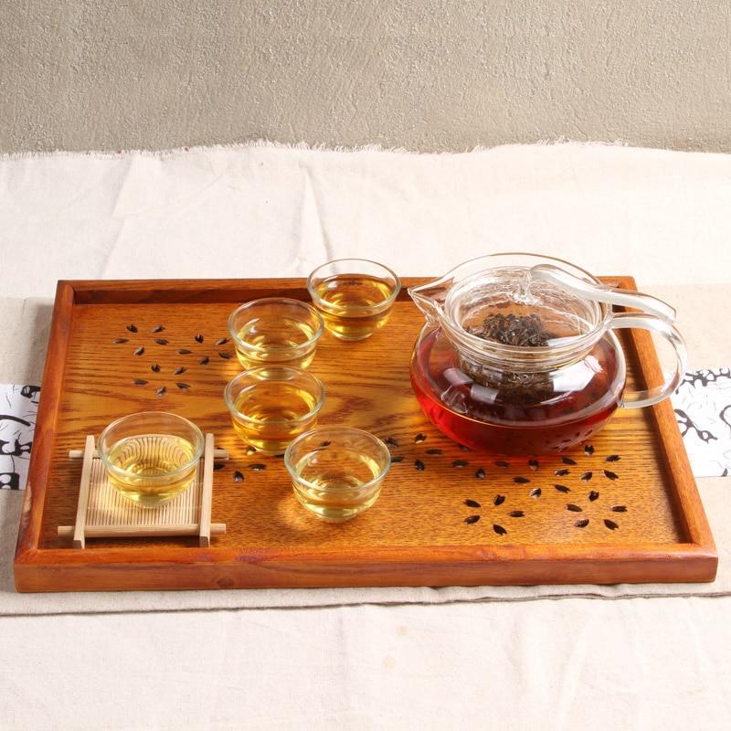 Bandeja de té de madera maciza de estilo japonés ahueca hacia fuera - Organización y almacenamiento en la casa