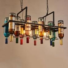 New Recycled retro Hanging Wine Bottle Pendant Lamps E27 LED bulb light for dining room/bar/restaurant Kitchen lighting fixture