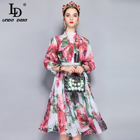 LD LINDA DELLA New Fashion Runway Summer Dress Women's Puff Sleeve Party Elegant Chiffon Flower Floral Printed Casual Midi Dress