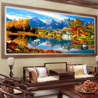 5D Diy Diamond Painting Autumn Landscape Embroidery Crafts Full Resin Ribbon Pasted Diamond Paintings 3D Cross