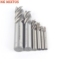 NK MIXTOS 7PCS HSS Straight Shank 4 Flutes End Mill Milling CNC Cutter Router Bit 4
