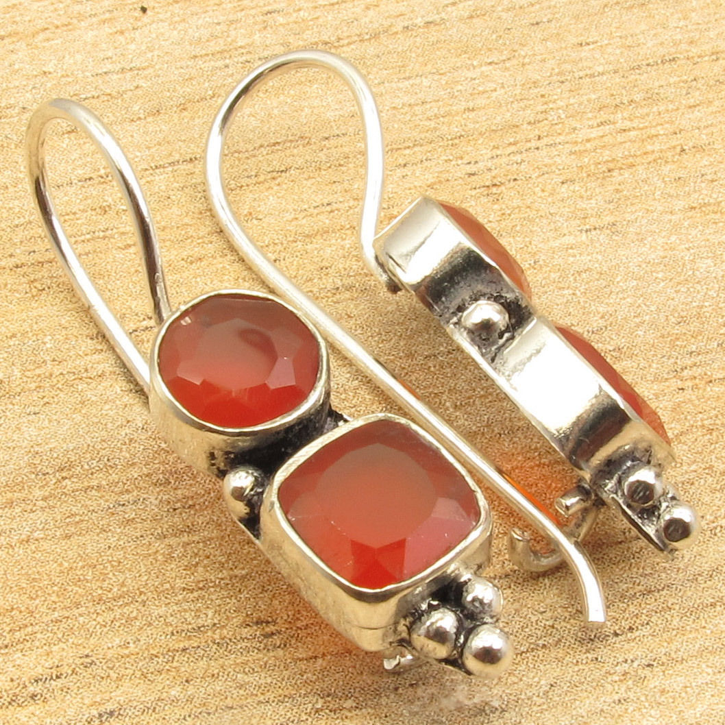 1 1/2inches Earrings ! RED CARNELIAN 2 Gems Silver Plated Over Solid Copper Jewelry