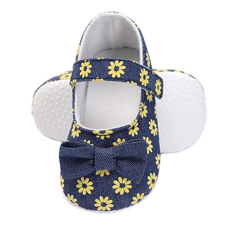 High Quality Newborn Girl First Walkers Shoes Little Daisy Print Female Baby Toddler Shoes Small Fresh Princess Shoes