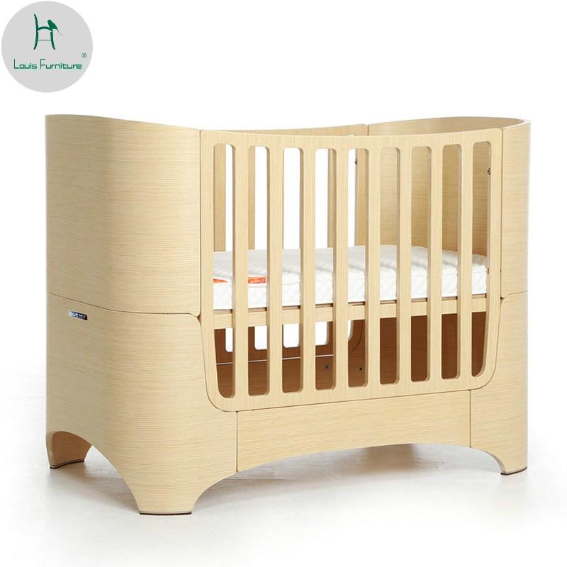 Us 9700 لويس الأزياء الصلبة الخشب سرير متعددة الوظائف حديثي الولادة نمو Bb عالية الجودة الأطفال السرير دون الطلاء في أسرة أطفال من الأثاث على