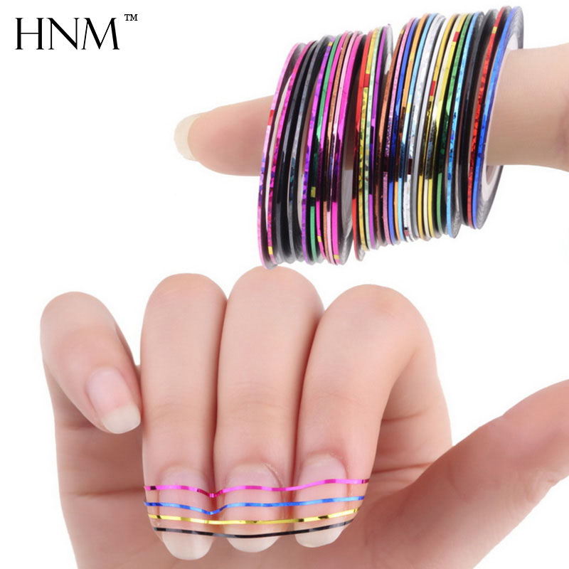 HNM 10/20/30pcs Mixed Colors Nail Rolls Striping Tape Line DIY Nail Art Tips Decoration Sticker Nails Care Gel Polish Decoration 20pcs lot mixed colors nail rolls striping tape line diy nail art decorations sticker for nails nail stickers