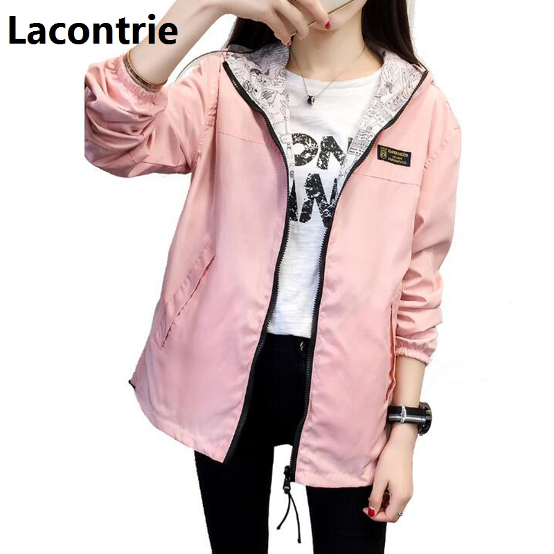 Lacontrie Fashion Women   Basic     Jacket   Pocket Zipper Hooded Two Side Wear Cartoon Print Casual Outwear Loose Coat Windbreaker T182