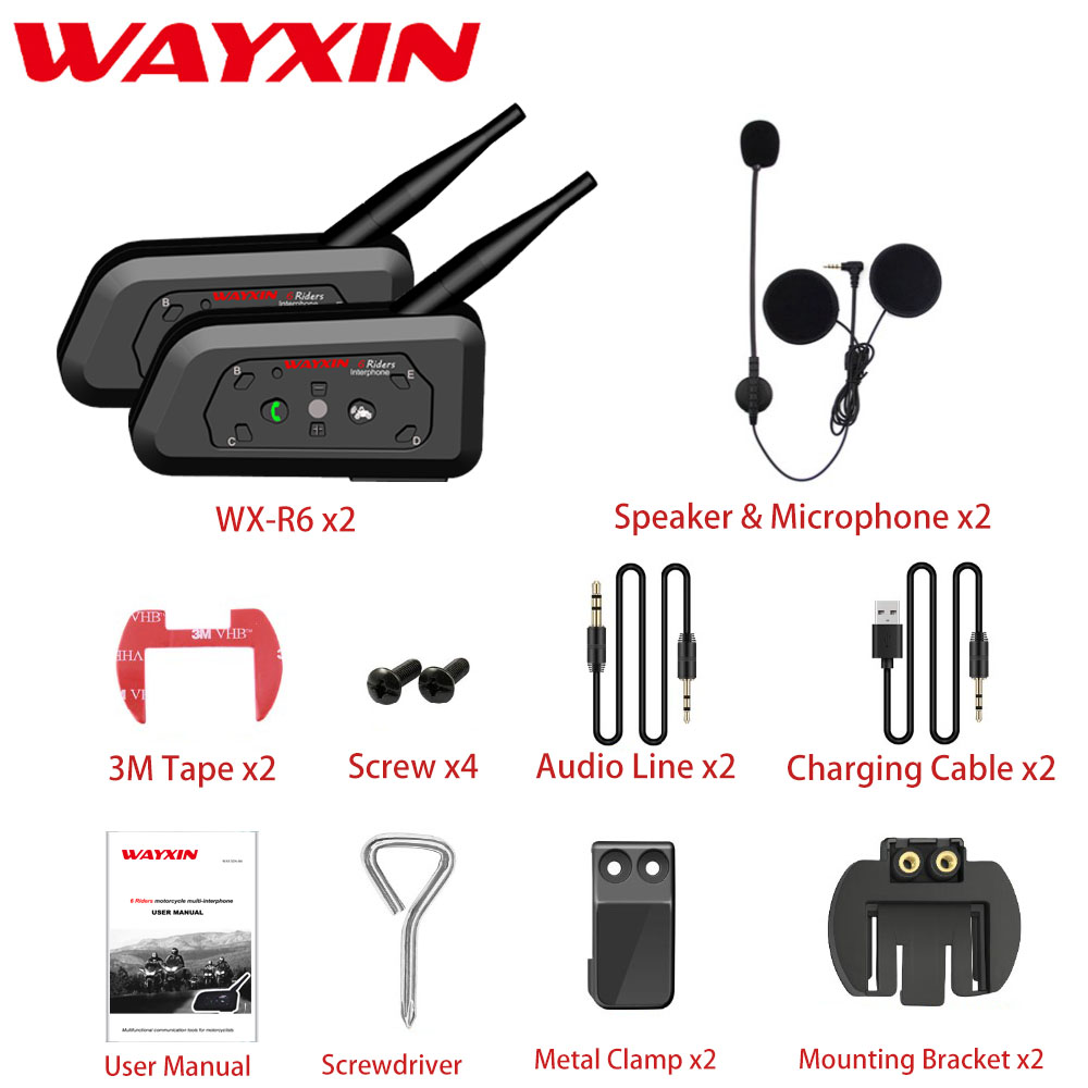 2Pcs WAYXIN Motorcycle Intercom 1200M Helmet Bluetooth Intercom Moto Buletooth Interphone 6 Riders Wireless Bluetooth Headset