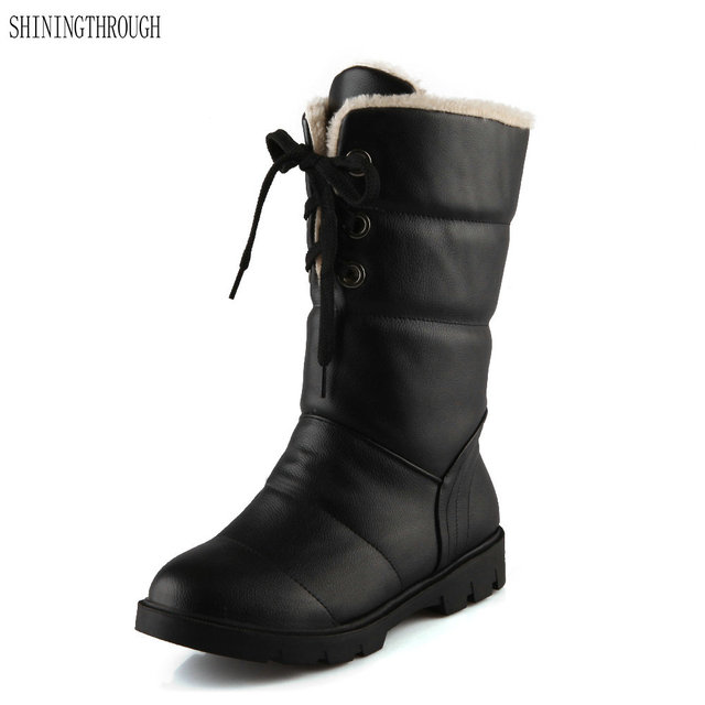 2018 New Low Heel Women Boots Winter Office Las Shoes Platform Snow Mid