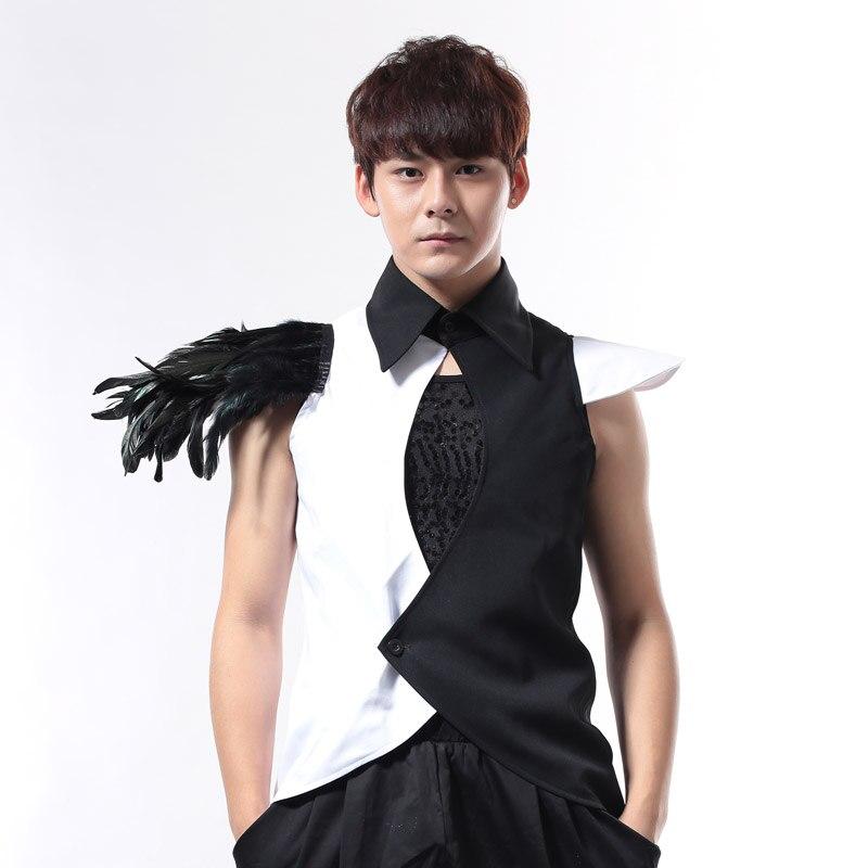 Nouveau noir et blanc homme chanteur discothèque Bar DJ DS Punk Rock chemise Slim gilet hommes vêtements hommes scène porter spectacle plumes Costumes