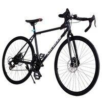 2017ブランドの新しいロードバイク黒自転車700cアルミ合金フレーム21スピード道路/通勤バイクダブルディスクブレーキ自転車黒