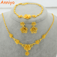 New Trendy 22K Gold Plated Jewelry Set Flower Pendant Necklace Earrings Bracelet For Women Posy Luxury