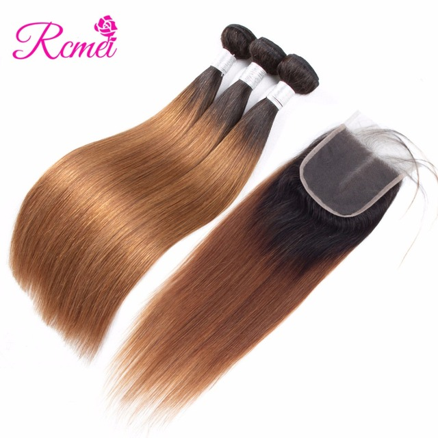 Pre-Colored Ombre Bundles With Closure Peruvian Straight Hair Two Tone Dark Roots Brown Colored Hair Weave Bundles NonRemy Rcmei