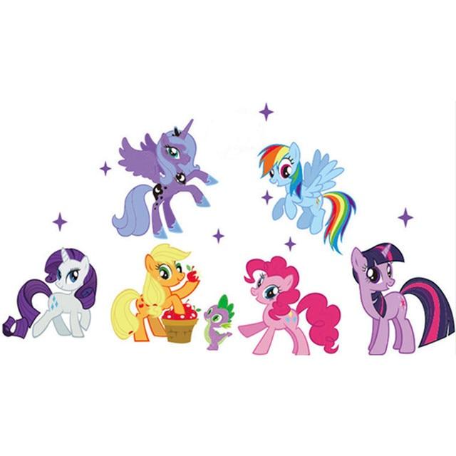 3D Decalques de Parede Encantador Dos Desenhos Animados Little Pony Adesivos de Parede para Crianças Meninas Crianças Do Berçário Do Bebê Decoração do Quarto Papel De Parede Mural Presente