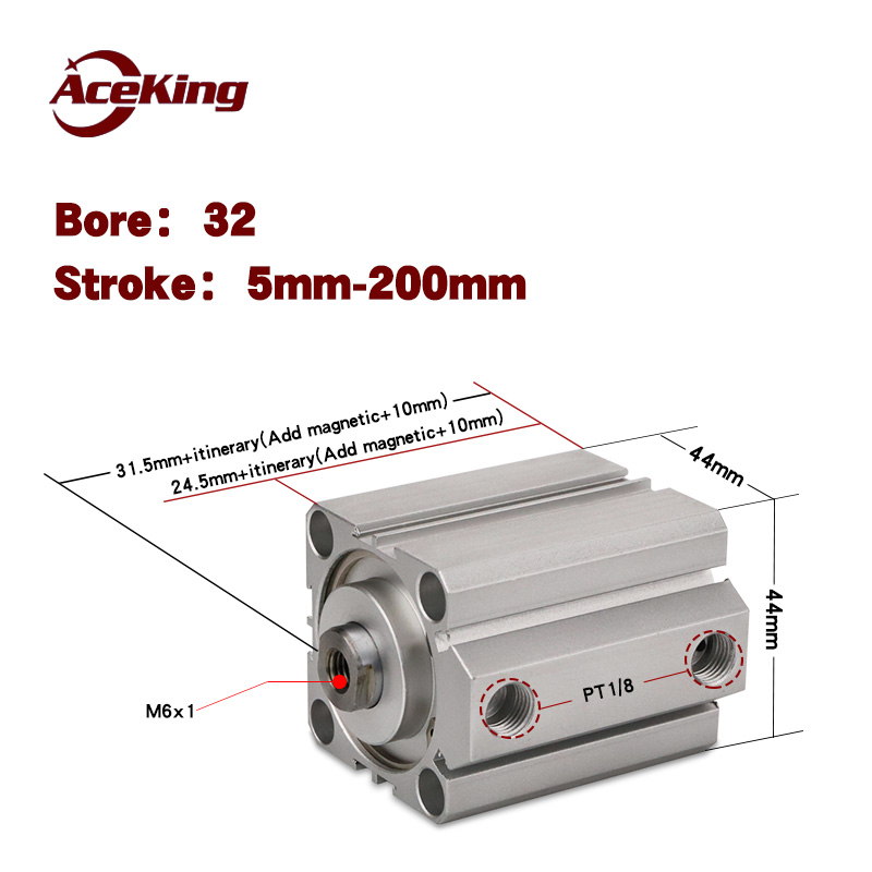 AIRTAC type magnetic pneumatic components of small SDA SDA32x5x10x15x20x25x30x35x40x45x50 - SB thin cylinder SDA32x30 sda32x50