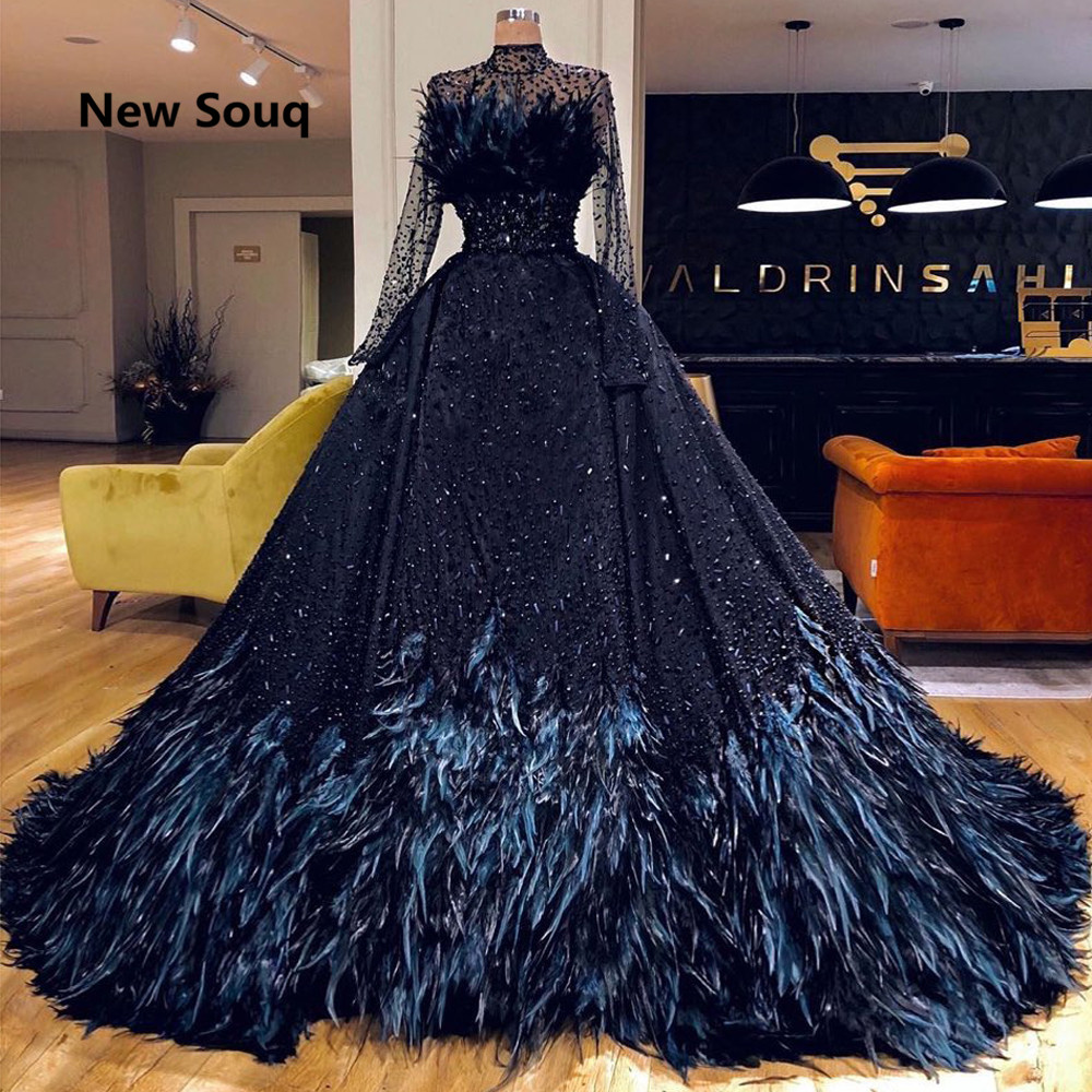 Navy Blue Crystal Beaded   Evening     Dresses   with Feather High Neck Long Sleeves Saudi Arabic Africa   Evening   Gowns Abendkleider