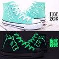 Zapatos de Lona de las mujeres Ocasionales de Moda Mi Vecino Totoro Amantes Luminosos Zapatos Zapatos de Lona para Niños Niñas Zapatos Size35-40 ~ 43