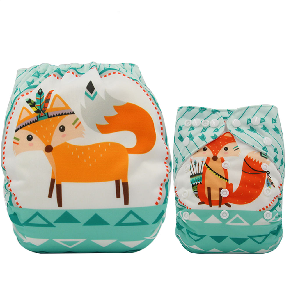 Ohbabyka Reusable Diapers Nappies Changing Animal Pattern Newborn Infant Baby Diaper Washable Infant Pocket Diaper Cover