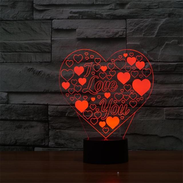 "Multi-shaped 3D LED Lamp Love Heart Shape Romantic Holiday Colorful Night Light(""I LOVE YOU"" Honey)"
