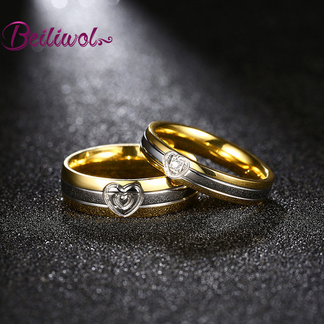 Engraved Name Heart Gold Color Jewelry Rings With Stones For Men