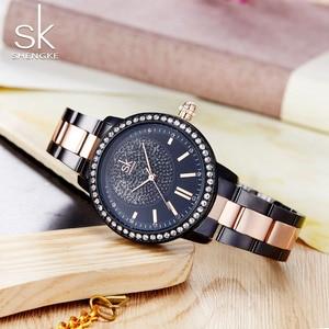 Image 3 - SHENGKE עלה זהב שעון נשים קריסטל קישוט יוקרה קוורץ שעון נשי שעון יד ילדה שעון גבירותיי Relogio Feminino